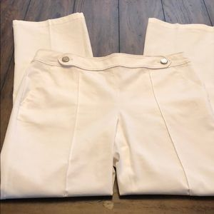 Ann Taylor White Pants with button detail. New